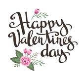 Stilfull förälskelseaffisch med blommor Tappningvektor som märker lyckliga valentin dag stock illustrationer