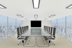 Stilfull företags konferenstabell i ett skyskrapakontor Arkivbilder