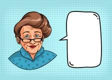 Stilfull farmor med den retro frisyren, exponeringsglas, röd läppstift Ståenden av den äldre kvinnan och anförande bubblar för te stock illustrationer