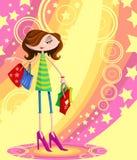 Stilfull flicka med shoppingpåsen Arkivfoto