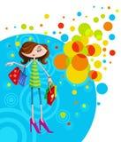 Stilfull flicka med shoppingpåsen Royaltyfri Bild