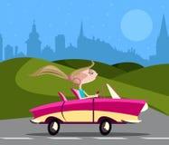 Stilfull flicka som kör bilen royaltyfri illustrationer