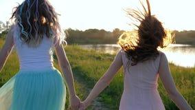 Stilfull flickväntonår med kanekalon i lång hårspring längs gräsmatta längs floden lager videofilmer