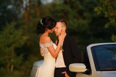Stilfull härlig lycklig brud och brudgum som gifta sig berömmar Royaltyfri Fotografi
