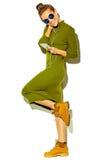 Stilfull härlig modell i stilfull kläder för sommar i studio Royaltyfri Fotografi