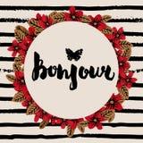 Stilfull hand dragit typografikort, plakat, affisch, t-skjorta tryck Paris Frankrike stil Royaltyfria Bilder