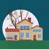 Stilfull husvektorillustration Vektor Illustrationer