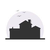 Stilfull illustration för huskonturvektor Stock Illustrationer