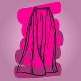 Stilfull illustration för vektor för kjolmodell hand dragen Arkivfoto