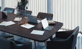 Stilfull inre f?r konferensrum med det stora f?nstret och tr?tabellen framf?rande 3d royaltyfria foton