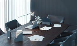 Stilfull inre f?r konferensrum med det stora f?nstret och tr?tabellen framf?rande 3d royaltyfri fotografi