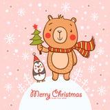 Stilfull julkort i vektor. Royaltyfri Bild