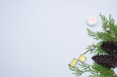 Stilfull julsammansättning granfilialer, kottar och julgarneringar på vit bakgrund Lekmanna- bästa sikt för lägenhet Arkivbild