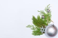 Stilfull julsammansättning med granfilialer och garneringar på vit bakgrund Arkivbild