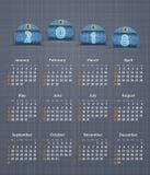 Stilfull kalender för 2018 på linnetextur med jeansetiketter Royaltyfri Fotografi
