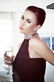 stilfull kvinna för härlig klänningglamour Royaltyfria Bilder