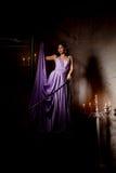 Stilfull kvinna för lyxigt mode i den rika inre Härlig gir Arkivbild
