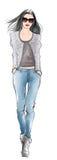 Stilfull kvinna för modemodell i jeans royaltyfri illustrationer
