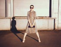 Stilfull kvinna i en leopardklänning, exponeringsglas och påse i gettot Royaltyfri Fotografi