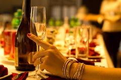 Stilfull kvinna som dricker champagne på ett matställeparti fotografering för bildbyråer