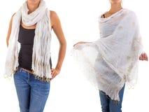 Stilfull kvinnlig halsduk med den orientaliska modellen Royaltyfri Bild
