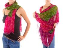 Stilfull kvinnlig halsduk med den orientaliska modellen Fotografering för Bildbyråer