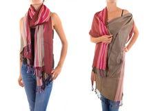 Stilfull kvinnlig halsduk med den orientaliska modellen Arkivbild