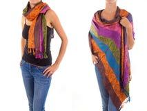 Stilfull kvinnlig halsduk med den orientaliska modellen Royaltyfri Foto