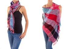 Stilfull kvinnlig halsduk med den orientaliska modellen Royaltyfria Bilder