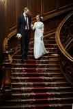 Stilfull lyxig brud och stilig elegant brudgum på gammal träst arkivbilder