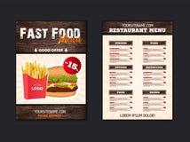 Stilfull meny för snabbmatrestaurang mellanrum för broschyr eller broschyr för snabbmatkafé i vindstil Vektormall med trä royaltyfri illustrationer