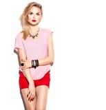 Stilfull modellflicka för tonårs- mode Royaltyfri Bild