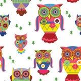 stilfull owls-seamless modell Arkivfoton
