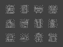 Stilfull plan vit linje badrumsymbolsuppsättning Arkivbild