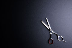 Stilfull professionell Barber Scissors, hårklipp på svart tillbaka Royaltyfria Foton