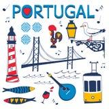Stilfull samling av typiska portugisiska symboler Arkivfoton