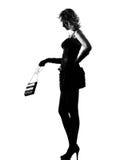 Stilfull silhouettekvinna som är sexig med handväskan Arkivfoto