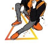 Stilfull skateboradåkare i jeans och gymnastikskor Skateboard Vektorillustration för en vykort eller en affisch, tryck för kläder stock illustrationer