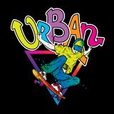 Stilfull skateboradåkare i jeans och gymnastikskor Skateboard Vektorillustration för en vykort eller en affisch, tryck för kläder royaltyfri illustrationer