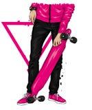 Stilfull skateborad?kare i jeans och gymnastikskor Skateboard Vektorillustration f?r en vykort eller en affisch, tryck f?r kl?der vektor illustrationer
