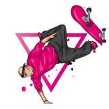 Stilfull skateborad?kare i jeans och gymnastikskor Skateboard Vektorillustration f?r en vykort eller en affisch, tryck f?r kl?der royaltyfri illustrationer