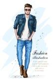 Stilfull stilig man i modekläder fashion mannen Hand dragen manlig modell skissa stock illustrationer