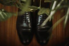 Stilfull svart man` s skor closeupen, eleganta mörka den sh läderbrudgummen Arkivbilder