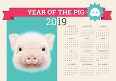 Stilfull svinkalender för 2019 Redigerbar mall för vektor med begrepp Symbol av året i den kinesiska kalendern vektor illustrationer