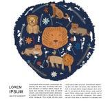 Stilfull teckenillustration för lejon för kortet, baner, mall, rengöringsduk stock illustrationer