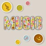 Stilfull text av musik med symbolen vektor illustrationer