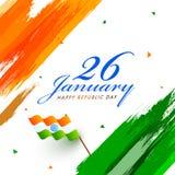Stilfull text 26 Januari med den krabba flaggan på indisk tricolour borste vektor illustrationer