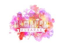 Stilfull text med moskén för Ramadan Royaltyfri Fotografi