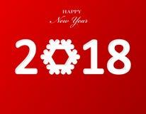 Stilfull textdesign 2018 med snöflingan för beröm för lyckligt nytt år red för bakgrundspapper Royaltyfria Foton