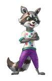 Stilfull tvättbjörn i violetflåsanden och märkes- tröja Vektor Illustrationer